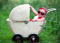 6 Month Baby Portrait in Vintage Carriage