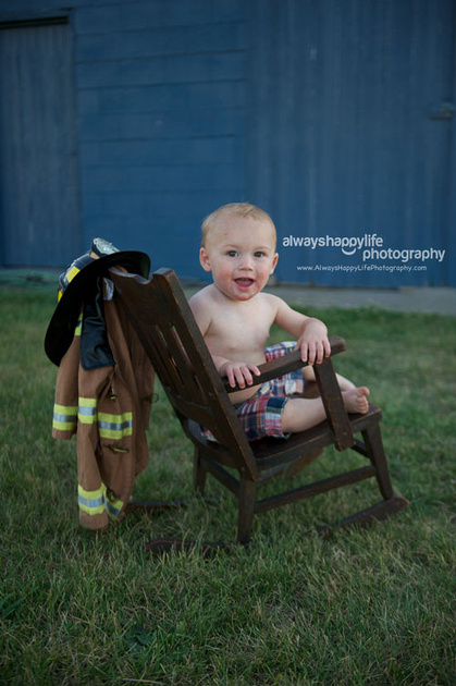 15 Month Old Baby Portrait in Rocking Chair Little Fireman