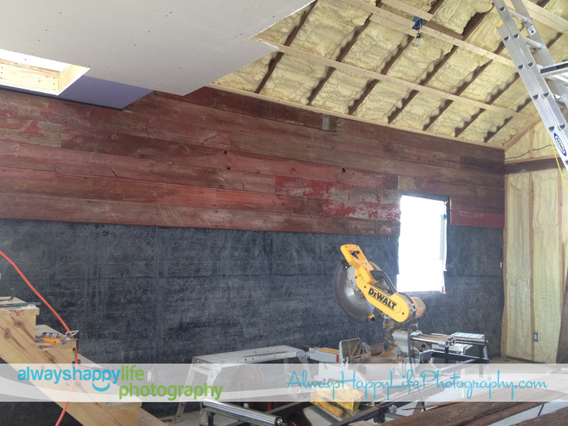 Red Barn Wood Walls Going Up in Photography Studio