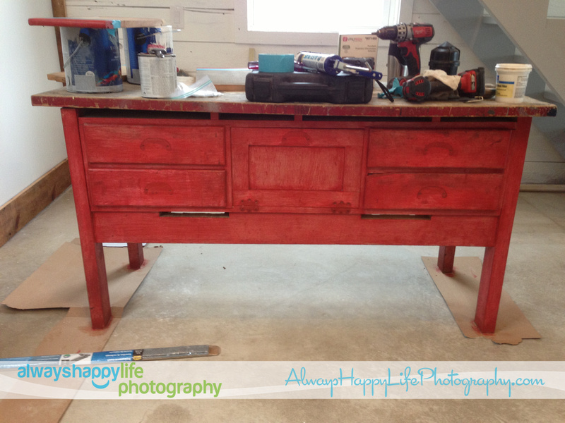Red painted shabby chic vintage workbench