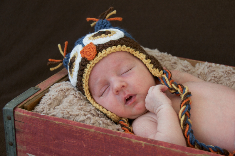 Sleeping Baby Newborn Portraits Owl Hat South Bend Baby Photographer