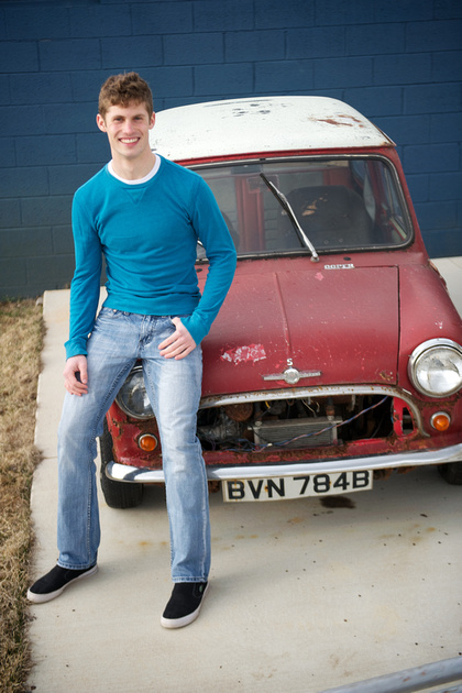 Best Senior Portraits for Guys Indiana Vintage Car Mini Cooper