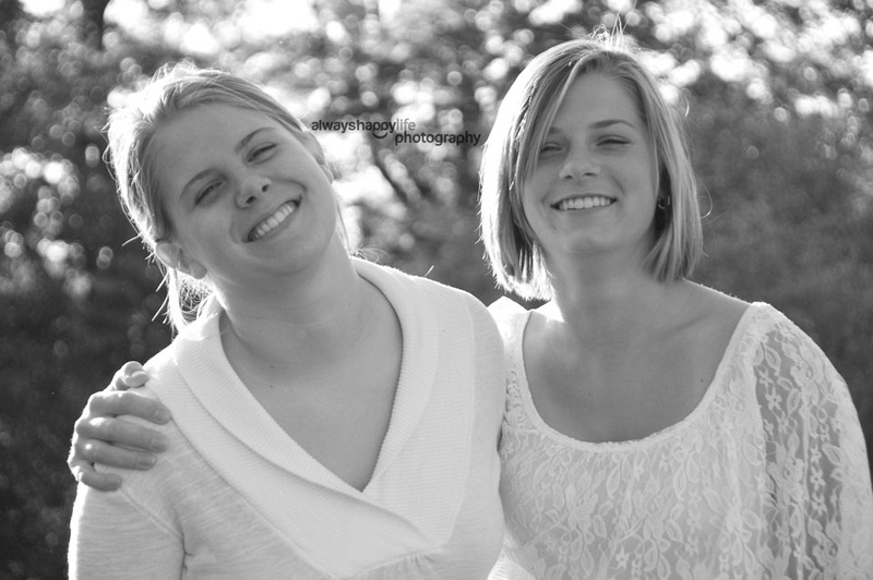 Sisters Black and white portrait