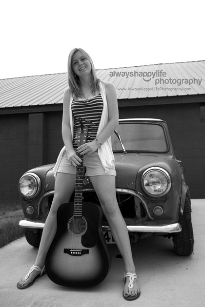 Vintage Mini Cooper Car Stunning Senior Portrait
